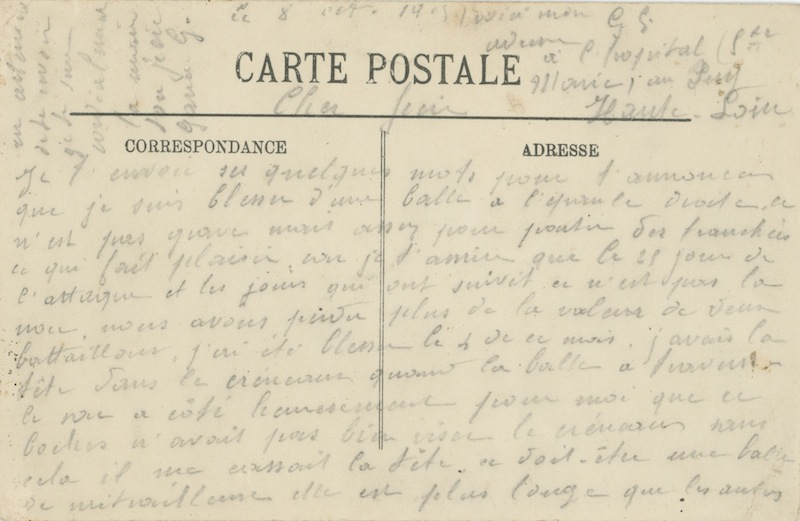 8 octobre 1915, carte écrite à son fils. Collection M. Cotty
