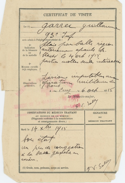 Certificat de visite - 14 décembre 1915. Collection M. Cotty