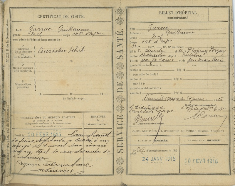 Certificat de visite - 20 février 1915. Coll. M. Cotty