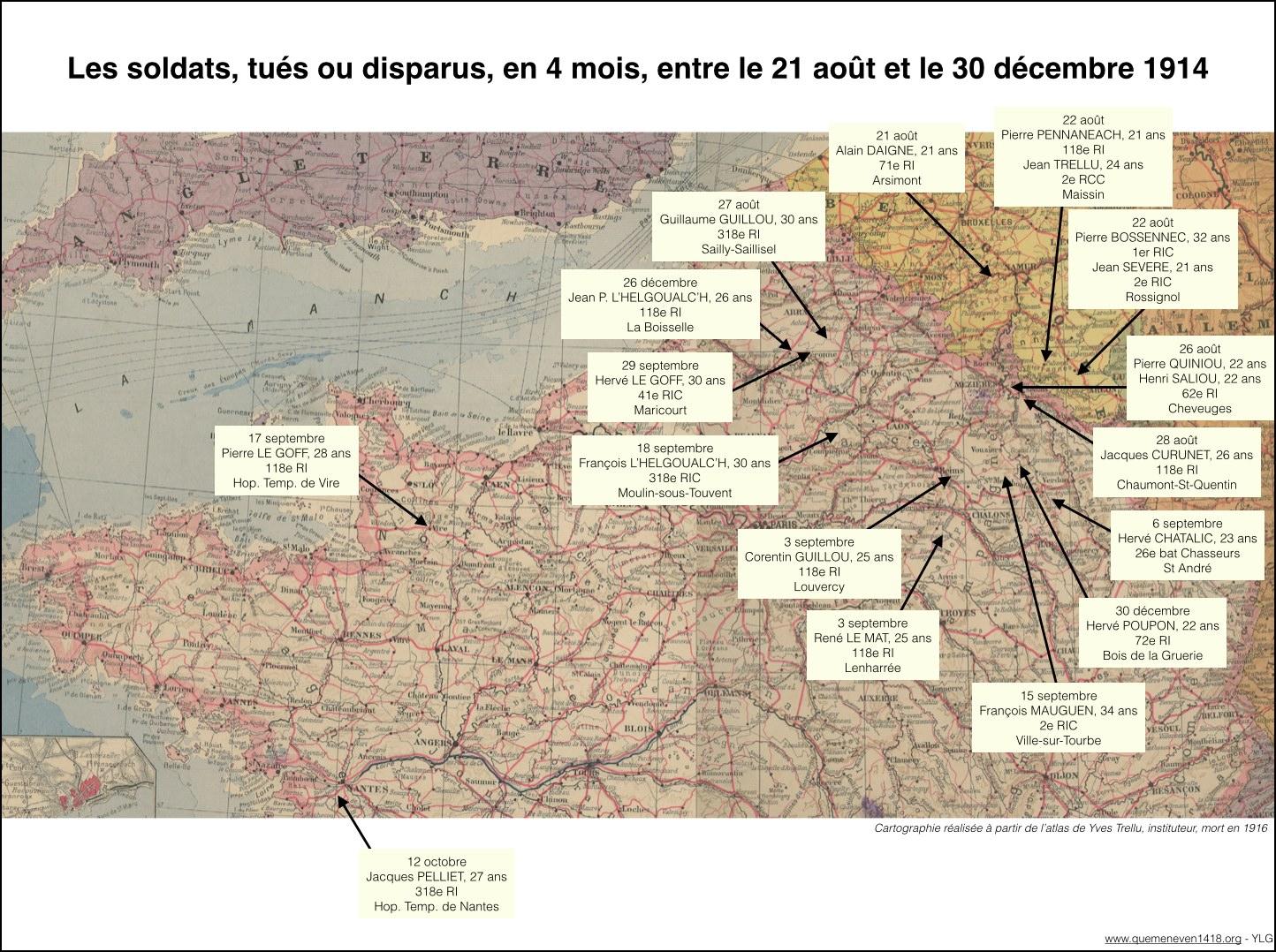 Localisation des disparitions des soldats tués en 1914