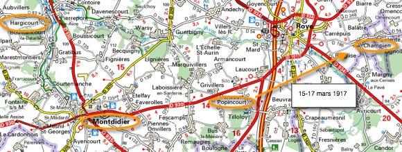 Le secteur de Popincourt dans la Somme où était le 71e RI à la mi-mars 1917