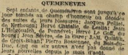 Extrait de La Dépêche de Brest du 27 mars 1915