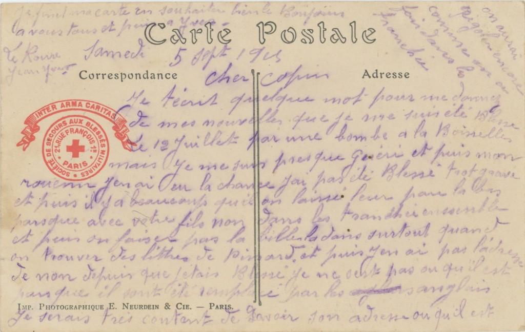 CPA du 5 sept. 1915 - Coll A. Guilloré