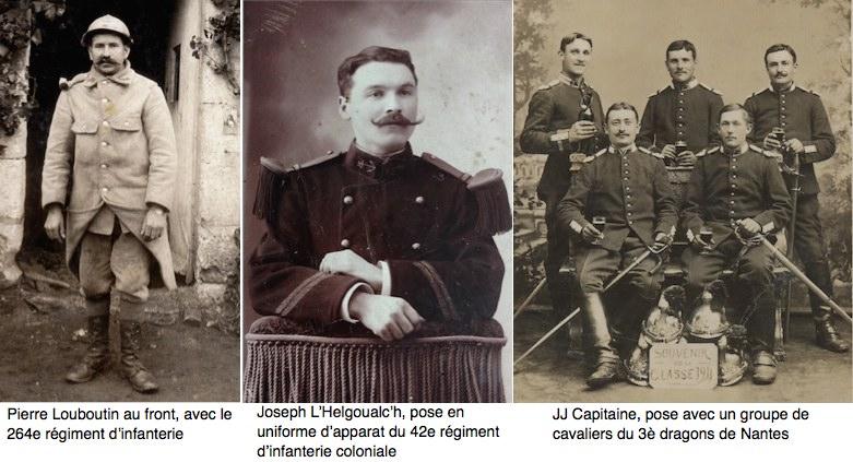 Trois types d'uniforme. Coll. familles Le Menn, L'Helgoualc'h et Capitaine