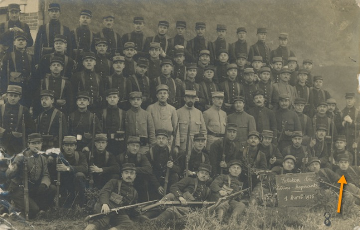 F. Trellu - peloton des élèves-aspirants du 5e RI - 1er avril 1916. Coll. personnelle
